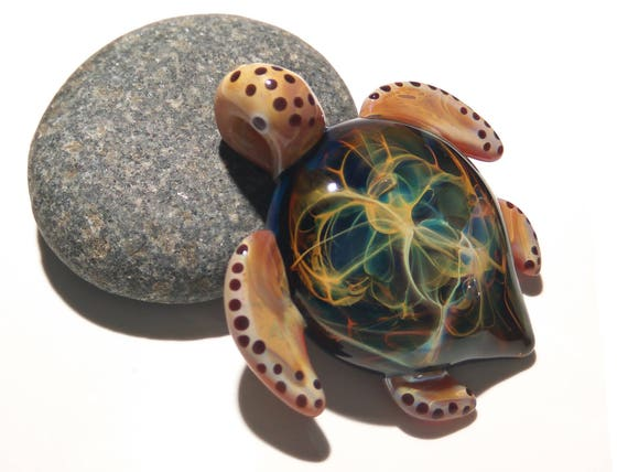 Earthy Universe Turtle - Rainbow Earth Turtle Pendant - Glass Jewelry - Turtle Jewelry - Sea Turte Necklace - Blown Glass Turtle Pendant