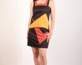 Black and orange cotton dress Texsanne