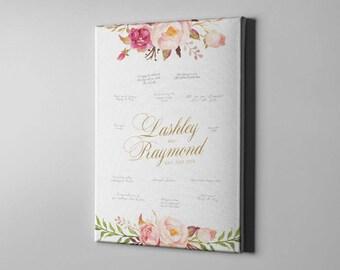 SALE 50% Off Canvas Guest Book, Gold Elegant Roses Wedding Guest Book, Signature Guest Book Alternative, Bridal Shower Gift Ideas - CGB121