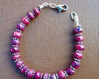 Ruby Bracelet - Ruby Jewelry - Raw Ruby - Red Jewelry - Gemstone Bracelet - Beaded Bracelet - Xmas Gift - Valentines Gift - Mystic Rubies