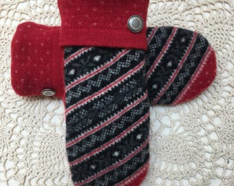 Wool mittens-Upcycled recycled warm red and black patterned felted wool mittens
