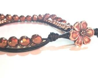 Beaded boho bracelet,leather boho bracelet,metal button clasp,hematyte beads,wrap boho bracelet,gift for her