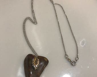 Vintage sterling silver chain and natural stone pendant.