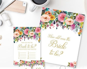 How old was the Bride Card and Sign, Bridal Shower Game Guess the Brides age cards, Gold text Watercolor flowers, DIGITAL FILES WS21