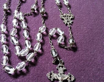Superb Antique French Art Nouveau Sterling Silver Rosary Rock Crystal Beads