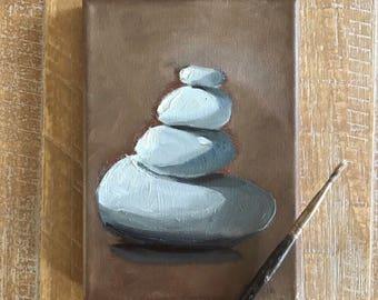 Balance, Rocks, Original Oil Painting on Canvas, 5x7 Framed or Unframed