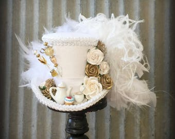 Bridal Mini Top Hat, Bridal Tea Cup hat, White Tea Pot Alice in Wonderland, Mad Hatter Hat, Tea Hat, Mad Hatter Tea Party Hat