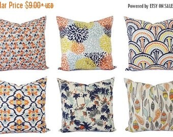 15% OFF SALE Orange Navy Pillow Cover - Orange Pillow Cover - Navy Decorative Pillow - Orange Throw Pillow - Navy Throw Pillow - 18 x 18 Pil