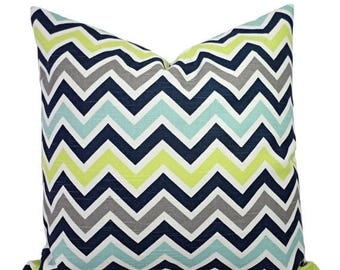 15% OFF SALE Two Decorative PIllow Covers - Blue and Green Chevron Pillows - Blue Chevron Pillow - Navy Chevron Pillows - Blue Pillow Sham -