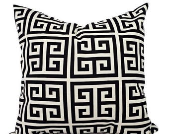 15% OFF SALE Two Black Pillow Covers - Black Greek Key Decorative Pillows - Decorative Pillow Cover - Couch Pillow - Black Grey and Cream Pi