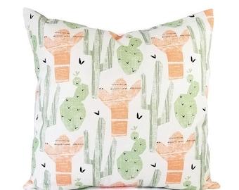 15% OFF SALE Two Peach Pillows - Green Throw Pillow - 16 x 16 Inch 18 x 18 Decorative Pillow - Pink Pillow Cover - Grey Pillow - Cactus Prin