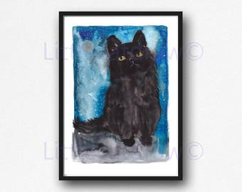 Cat Print Black Cat Starry Night Watercolor Painting Art Print Cat Print Art Print Bedroom Wall Decor