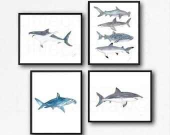 Shark Print Set of 4 Watercolor Painting Print Nautical Print Bathroom Decor Beach Decor Shark Wall Art Sharks Art Print Wall Decor