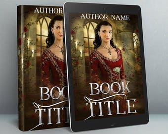 renaissance historical fiction premade book cover with medieval woman