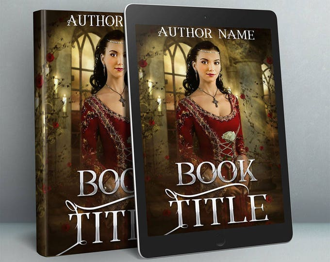 Featured listing image: renaissance historical fiction premade book cover with medieval woman