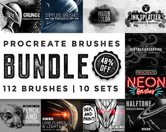 Procreate Brushes bundle - 112 brushes - For the iPad app Procreate - Digital brushes - Digital art resources