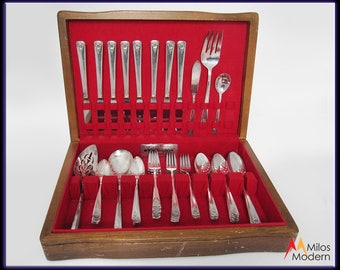 Vintage 50s Rogers Silverplate Flatware Set Spring Charm 55 Pc. Service for 8