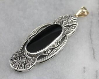Art Deco Black Onyx Pendant, Black Stone Pendant, Statement Pendant 1YYRQ84J-N