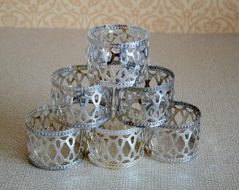 6 Vintage Decorative Silver Plated Napkin Rings