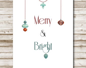 Merry and Bright Printable Christmas Decoration Holiday Wall Art  5x7 8x10 11x14 16x20 Vintage Ornaments Christmas Decor Photography Prop