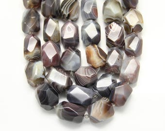 Botswana Agate Faceted Nugget Beads Pendants,Center Drilled Natural Agates Cut Slab Loose Beads