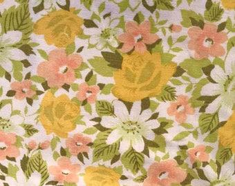 Swedish Vintage fabric floral print 60s 70s retro fabric mod retro pattern flower power scandinavian design hippie green yellow