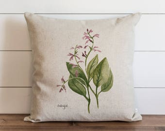 Botanical Sage 20 x 20 Pillow Cover // Everyday // Herbs // Gift // Accent Pillow