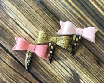 Felt and glitter bows - READY TO SHIP - snap clips - hair clips