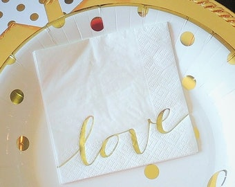 "6 1/2"" Gold Foil Love Paper Lunch Dinner Napkins White Wedding Bridal Shower Anniversary Valentine's Day Set of 25"