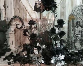 Gothic Wedding, Halloween Wedding, Goth Wedding, DARK DESIRES Gothic Glamorous Hallowe'en Bridal Silk Floral centerpiece