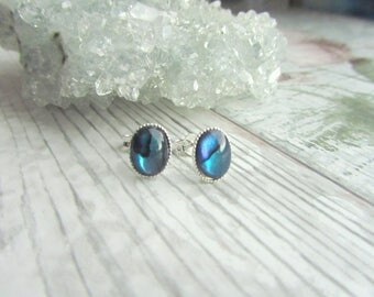 Natural Blue Abalone Stud Earrings - Silver Plated // 925 Sterling Silver Gemstone Jewellery - Blue Earstuds