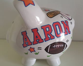 Sports bank etsy personalized piggy bank sports piggy bank sports theme piggy bank baby boy gift negle Gallery