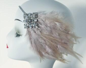Art Deco Feather Rhinestone Hair Clip Headband Gatsby Party Wedding Headpiece