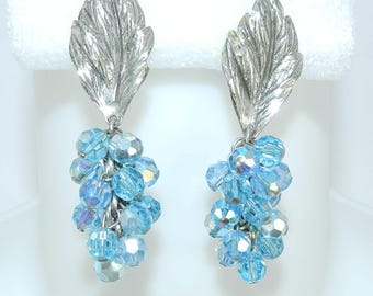 Sandor Signed Leaf Drop Dangle Earrings, Vintage Aurora Borealis Clip On Earrings, Bridal High End Jewelry Jewellery
