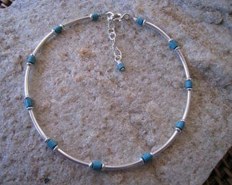 Turquoise Anklet - Sterling Silver Ankle Bracelet - Beach Anklet - Adjustable Anklet - Girlfriend Gifts - December Birthstone