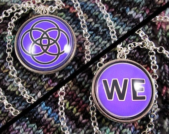 Double-Sided Necklace - Multiplicity - Purple - Silver Chain