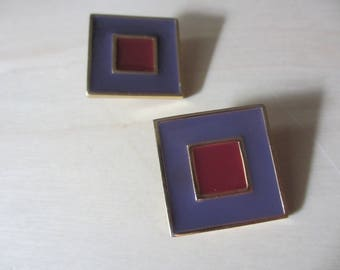 So Square So 80s Givenchy Purple Fuchsia Enamel Clip On Earrings Runway Designer Earclips