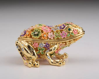 Gold Frog with Colorful Flowers Faberge Styled Trinket Box Handmade Decorated with Swarovski Crystals