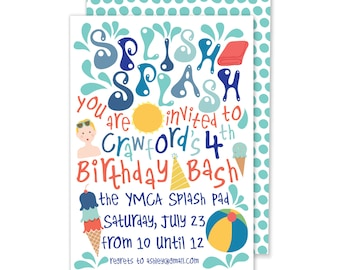 Splish Splash Birthday Party Invitation // Printable