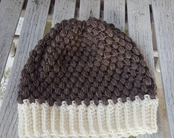 Brown Puff Stitch Beanie