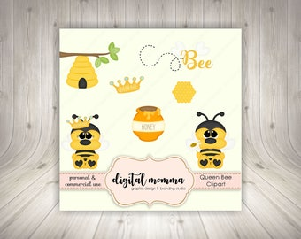 Queen Bee Clipart, Honey Bee Clipart, .PNG, Personal & Commercial Use, Instant Download!