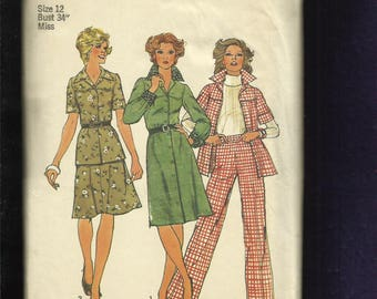 Vintage 1974 Simplicity 6610 Western Shirt or Dress with Large Pointed Collar  Shaped Yoke Pants & Skirt too Size 12