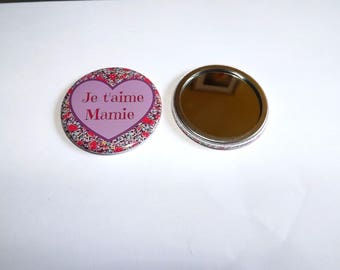 "Pocket mirror ""I love Grandma"" 5.8 cm in diameter, can be customized upon request"