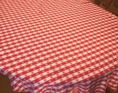 RESERVED FOR JOY Large Vintage Red White Picnic Tablecloth,  Woven Cotton Gingham Checked