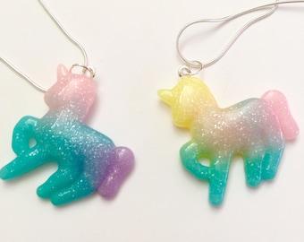 Unicorn necklace - Gelati coloured unicorn pendants - unicorn jewellery - unicorn jewelry - kawaii kitsch - Resin