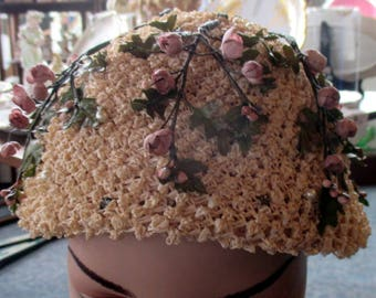 Stunning 40s Hugh Beresford Natural Straw Hat with Rosebuds Pearls & Rhinestones