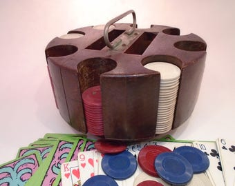 Mid Century Wood Poker Caddy with Clay Chips and Cards