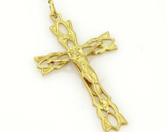 15130 - Estate 18k Yellow Gold Large Crucify Carved Charm Pendant