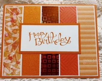 Handmade Birthday Card Stamped Orange Birthday Card For Friend Birthday Greeting Card Happy Birthday Handmade Stampin Up Simple Birthday