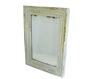 Vintage Framed Wall Mirror with Distressed Gray Painted Finish, Shabby Cottage Style, Wood Framed Mirror, Vanity, Bathroom